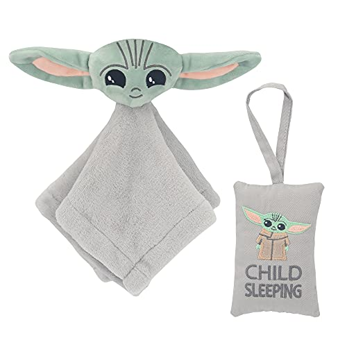 Lambs & Ivy Star Wars The Child/Baby Yoda Security Blanket/Door Pillow Gift Set