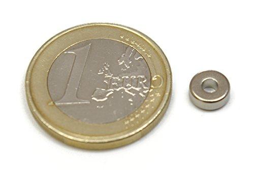 50 pièces d'aimant de néodyme Créoles – 6,5 mm de Diametro x 2,5 mm Diametro interne x 2,5 mm d'épaisseur – Force de atraccion de 0,6 kg – 1722 Gauss