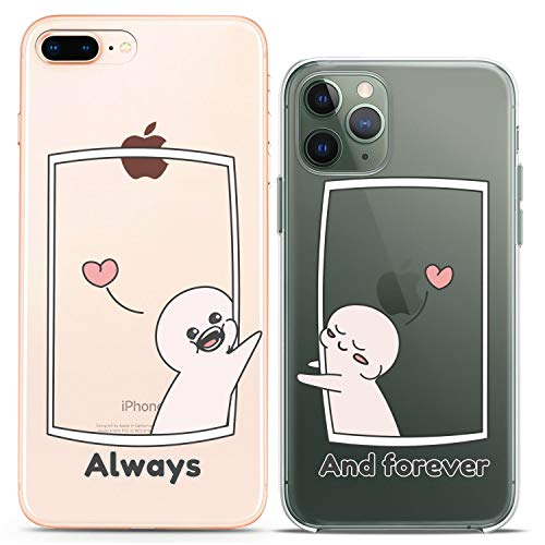 Cavka Matching Couple Cases Compatible with iPhone 12 Pro 5G Mini 11 Xs Max 6s 8 Plus 7 Xr 10 SE X 5 Cartoon Slim fit Nice Love Clear Cover Always and Forever Design Soft Flexible Cute Print BFF Funny