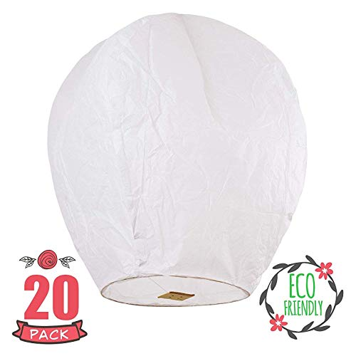 SKY HIGH 10 PACK ! Fully assembled and biodegradable Chinese Lanterns, Pack of 10, White Color