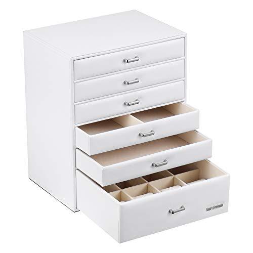 Yorbay Caja joyero Organizador, con 6 Cajones para, Caja de Almacenamiento, 24x30x18 cm con Manejar (Blanco) Reutilizable
