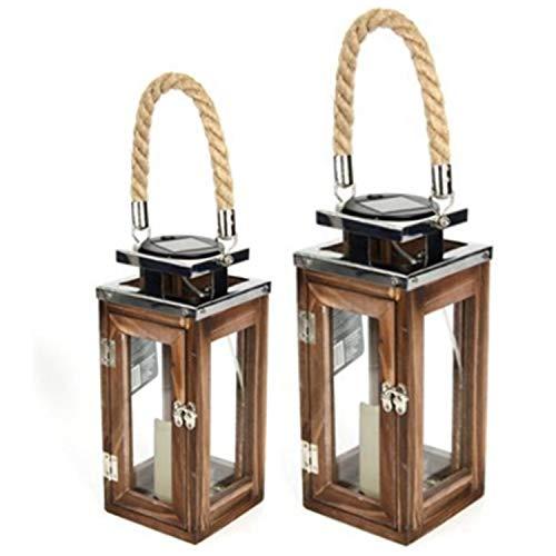 Solar LED Garten Laterne aus Holz I Wooden Lantern I mediterane Laternen I Hängelaterne I Holzlaterne I Solarlaterne I Solarlicht für drinnen und draußen (2 Laternen Set)