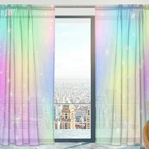Mnsruu Transparente Gardine, Unicorn Mit Regenbogen Mesh Weiche Tüll Voile Vorhänge für Wohnzimmer Schlafzimmer 140 x 198 cm, 2er Set