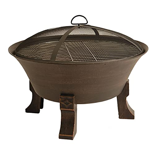 Bluegrass Living BFPW26D-CC 26 Inch Cast Iron Deep Bowl Fire Pit with Cooking Grid, Weather Cover, Spark Screen, and Poker, Black