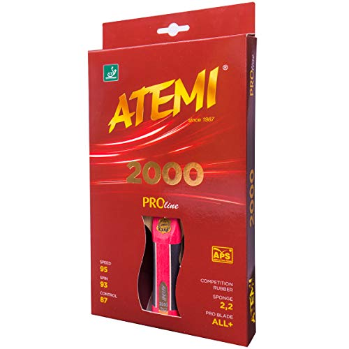 Atemi ProLine 2000 Racchetta Ping Pong | Controllo e Potenza Superiori | Gomma Approvata ITTF | Materiali Naturali | Ideale per Tutti i Livelli | Manici, Colori e Confezione MIGLIORATI | Leggera
