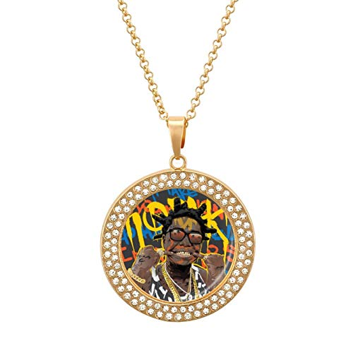 Personalized Necklace Black Chain Cubic Zircon Pendant Kodak for Men Women Boys Girls, Golden/Silver