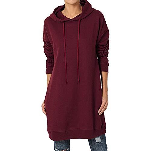 SatinGold Mode Damen überdimensioniert Bluse Casual Sweatshirt Tops Hei?er Einzigartiges Design Rundhals Gugel Hals Falten Shirt (M, Wein)