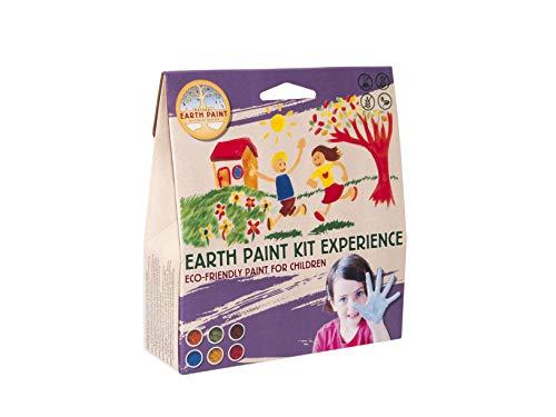 Natural Earth Paint Kinderfarbe Mineralische Ungiftige Pigmenten für [2 Liter] Wasser-, Aquarell-, Tempera-, oder Fingerfarbe - 6 Verschiedene Kreativ-Mal-Farben & 3 Pinsel - malen Spielzeug