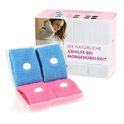 Cozy Racoon Akupressur Armband gegen Übelkeit in der Schwangerschaft I Effektiv und ohne Nebenwirkungen I Praktische Transportbox I 4 Stück (2x Pink, 2x Blau)