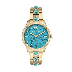 in budget affordable Michael Kors Runway Mercer Ladies Quartz Watch, Stainless Steel Strap, Gold, 18 (Model: MK6670)