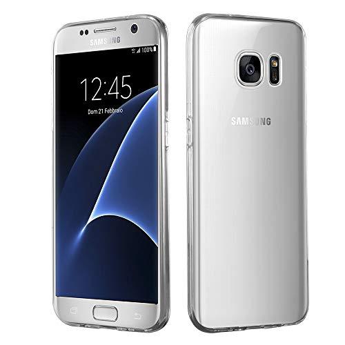 HSP Transparente Hülle kompatibel mit Samsung Galaxy S7   Premium TPU Silikon Case   Kratzfest Stoßfest Klar   Microdot Handyhülle   Passgenaue, weiche, durchsichtige Schutzhülle