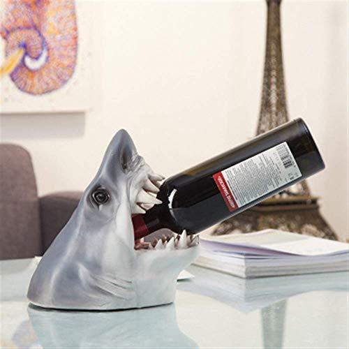 JBNJV Estante para Vino Estante para Vino con Animales creativos, Artesanías de Resina para Accesorios de Vino, Adornos para la decoración del hogar, Estantes para Vino Tiburón (Color: B)