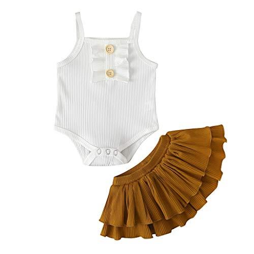 sunnymi Bekleidungssets für Baby-Mädchen,0-24 Monate KleinkindBaby Mädchen Ärmellose Strampler Tutu Rock Blumen Kleidung Outfits