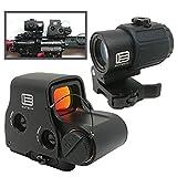 [AERITH BLACK] 明るい 最新改良レンズ EO EXPS3 with G43 タイプ セット レプリカ ドットサイト ダットサイト ホロサイト マグニファイア Magnifire マウントスペーサー付 3倍 ブースター スコープ ブラック 刻印入り G33 EXPS3withG43 (558 G43 BK)