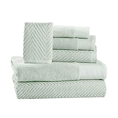6 Piece Premium Cotton Bath Towels Set - 2 Bath Towels, 2 Hand Towels, 2 Washcloths Machine Washable Super Absorbent Hotel Spa Quality Luxury Towel Gift Sets Chevron Towel Set - Jade