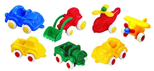 Viking Little Chubbies Primary Set - 7 Colorful 2.75' Vehicles (Tractor, 4 x 4, Plane, Helicopter,Truck and 2 Cars)