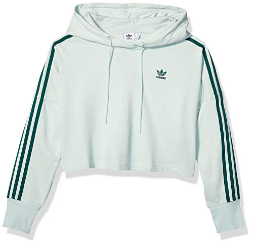 adidas Originals Women's Cropped Hooded Sweatshirt, vapour green, X-Large