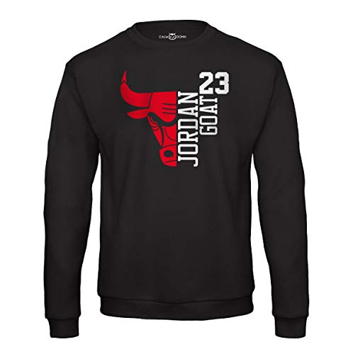 Jordan Sweat Shirt 23 Goat Chicago Herren Pullover Basketball Bulls Michael (L, Schwarz)