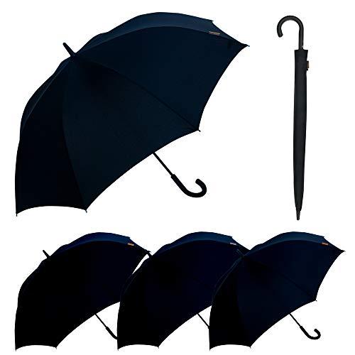 M&P - Paraguas Largo Automático | Paraguas Antiviento Ideal para Viajes, Hombre y Mujer, Negro