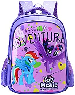 Girl's Purple Cartoon Backpack My Little Pony Pattern Nylon Material Waterproof Wearable Lightweight Comfortable Breathable Pupils Backpack