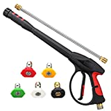 MATCC Pressure Washer Gun 4000 PSI 2020 Upgrade Version Power Spray Car Wash Gun with M22-14mm Thread 19 inch Extendable Wand and 5 Nozzle Tips for Car High Pressure Power Washer