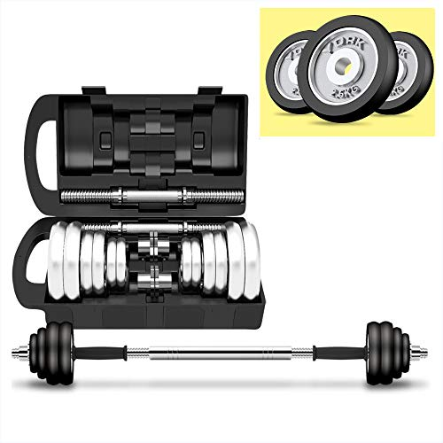 ZHH Adjustable Dumbbells Weight Set for Gym Home Bodybuilding Training,Hardcover Gift Box with Plastic Rod Double Safety nut (33LB)