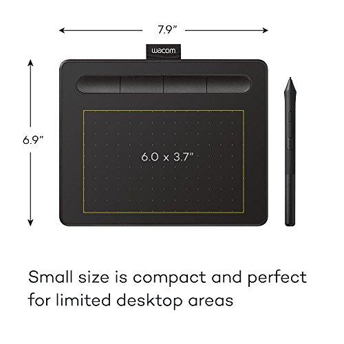 Wacom CTL4100 Intuos Grafiktablett mit Software, 20,1 x 16 cm, Schwarz, klein
