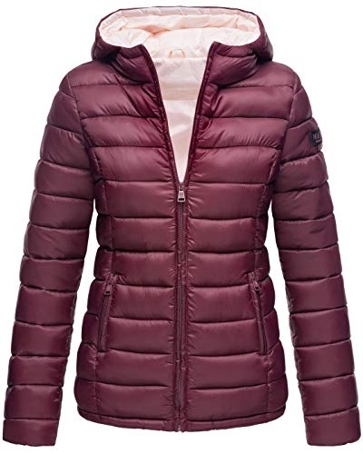 Marikoo Damen Jacke Steppjacke Herbst Winter Übergangsjacke gesteppt B651 [B651-Luc-Weinrot-Gr.XS]