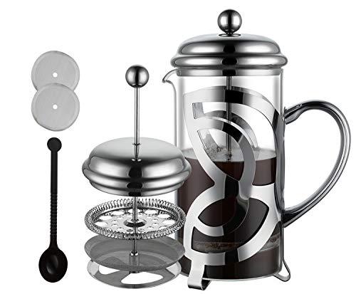 Meelio French Press Kaffeebereiter mit Edelstahl Filter - Hitzebeständiges Glas | 1 Liter (6 Tassen), Kaffeemaschine | Kaffeepresse inkl. Ersatzfilter & Kaffeelöffel | Kaffeepresse- auch für Tee