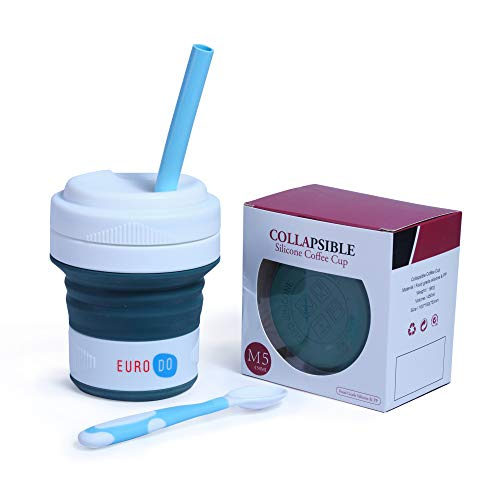 EURODO 2021 Newest Kaffeebecher to go mit Stroh und Löffel 450 ml - Faltbarer Kaffeetasse - Faltbar Becher (Dunkelgrün)