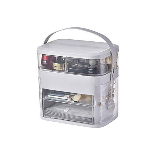 Caja de Almacenamiento de cosmética Multifuncional, Caja de cosmética extraíble portátil, Caja de Almacenamiento de Joyas de Flip-Top, 11.8x11.6x8.3 Pulgadas,White a,11.8x11.6x8.3 in
