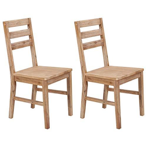 Festnight Esszimmerstühle 2 STK. | Rustikal Esszimmer Stuhl 2er Set | Holz Küchenstuhl | Essstühle | Holzstuhl | Massivholz Akazie 42 x 49 x 90 cm