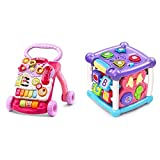 VTech Sit-to-Stand Learning Walker (Frustration Free Packaging), Pink & Busy Learners Activity Cube, Purple