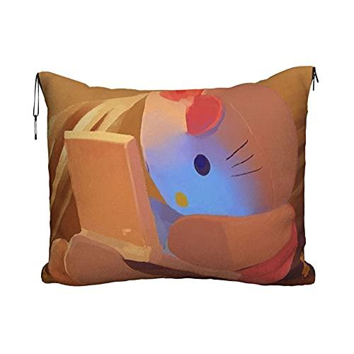 Hello Kitty Cartoon Anime Lindo Gato Almohada de viaje Manta Portátil Viaje 2 en 1 Manta Avión Mantas Super Softs Acogedor