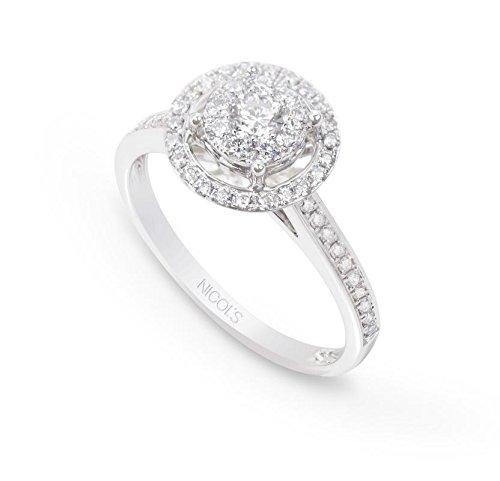 NICOLS 14710800111 - Anillo Diamantes Rosetón DIAMOND CLASSIC NICOL´S. Fabricada en oro blanco y diamante talla brillante de peso total 0.77ct.