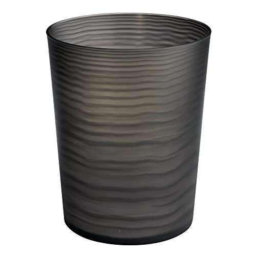 mDesign - Prullenbak - afvalbak - voor de badkamer - voor wastafels en aanrechtbladen en voor onder de wasbak - voor het weggooien van badkamerproducten - hoogwaardige kwaliteit plastic - zwart - zwart/doorzichtig