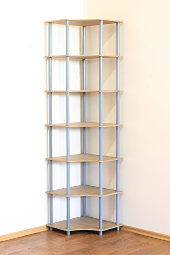 MODO24 Rohrregal 7 Böden Eckregal Breite 56cm Zimmer- Büro- Bücher- Kellerregal … … (Grau) DEDAL-7W