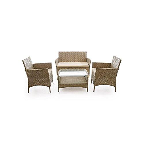 VERDELOOK Set Caprera Salon d'extérieur composé de canapé 2 places, 2 fauteuils, une table basse, taupe