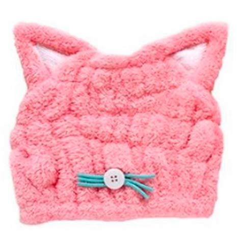 [フェアリーテール] タオルキャップ スイミング 帽子 可愛い お風呂あがり 吸水素材 お子様向け ネコミミ ブルー ピンク (ピンク)