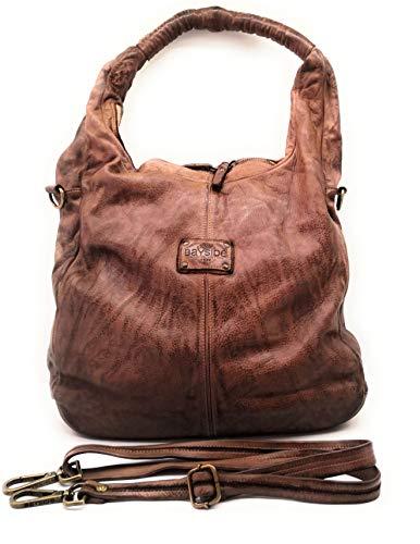 Bayside BS485 Damen-Tasche, umformbar, mit geflochtenem Griff, hergestellt in Italien, - Brown Rock - Größe: Altezza: 40cm; Larghezza: 38cm
