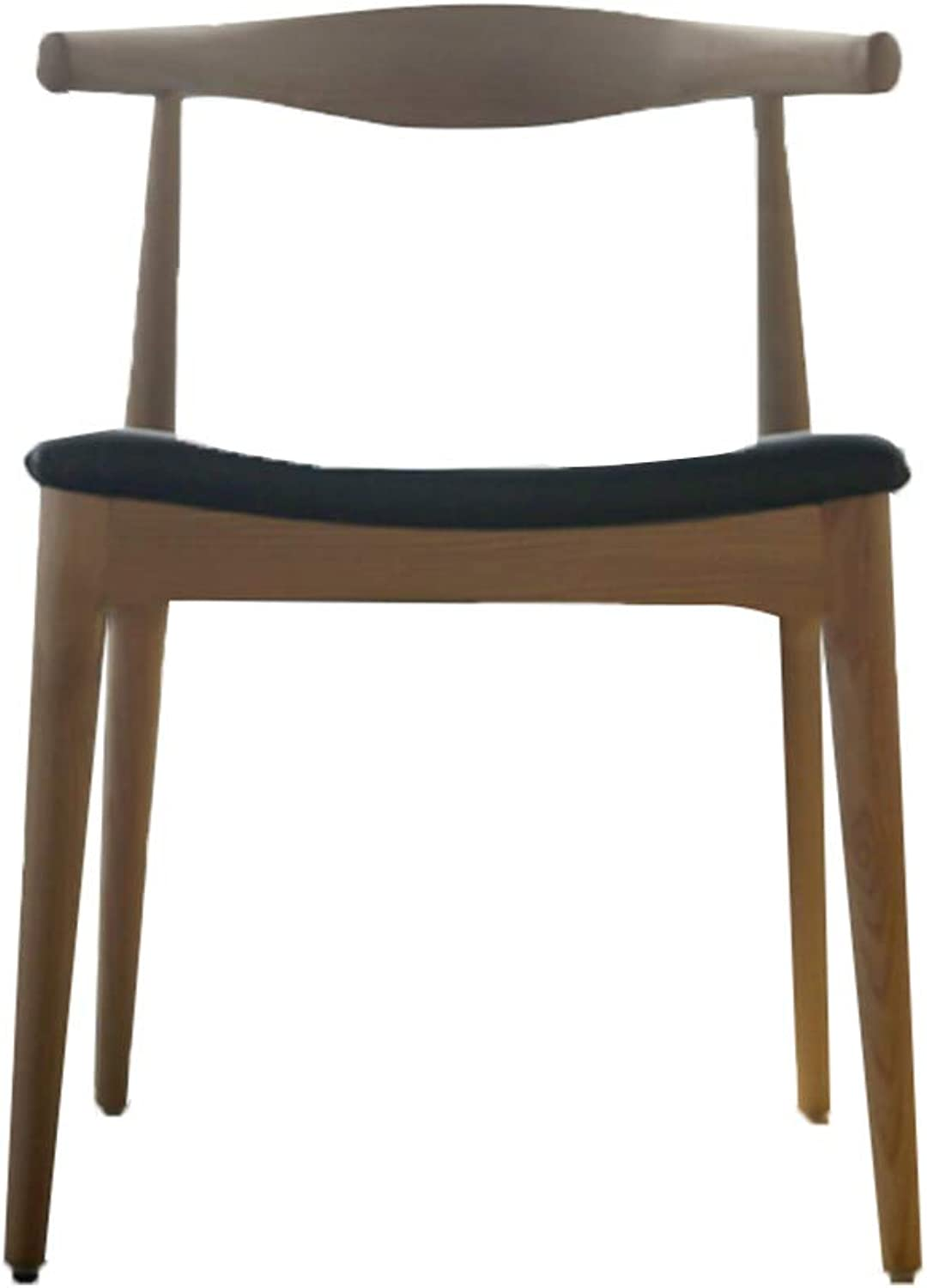 XINGPING Horn Chair Nordic Wood Casual Modern Simple Creative Computer Backrest Conference Hall Soft Dining Chair (color   Walnut color+Black pu Cushion)