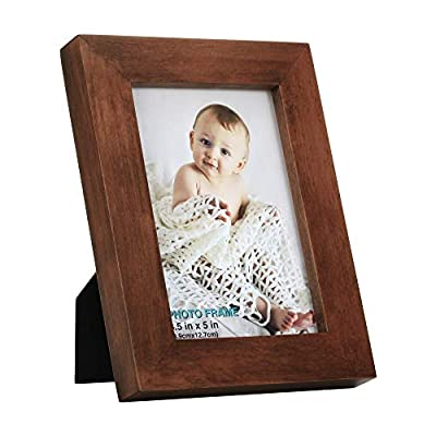 3.5x5 inch Picture Frame Made of Solid Wood High Definition Glass for Table Top Display and Wall Mounting Photo Frame Brown