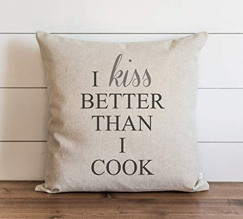 I Kiss Better Than I Cook Pillow Cover Everyday Throw Pillow Gift Accent Cushion Cover Case Pillowcase with Hidden Zipper Closure for Sofa Bench Bed Home Decor 20 x 20 Inches