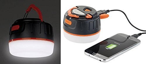Semptec Urban Survival Technology LED Akku: 3in1-Campinglaterne mit Deckenlicht & USB-Powerbank, 5.200 mAh, IP65 (Powerbank LED)