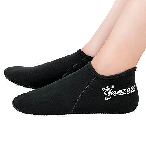 Seavenger Zephyr 3mm Neoprene Socks | Wetsuit Booties for Scuba Diving, Snorkeling, Swimming (Black, Large)