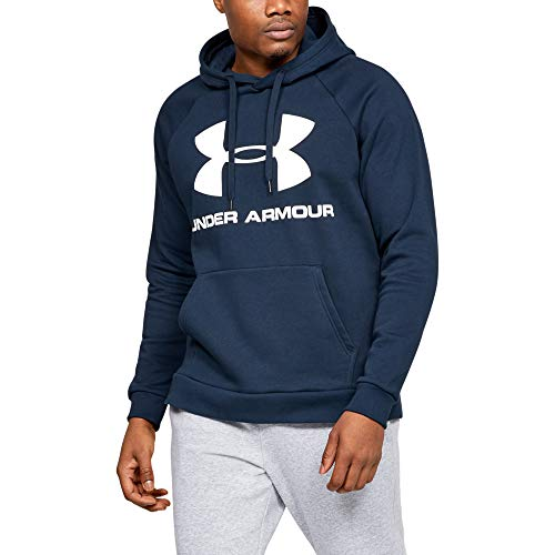 Under Armour Felpa con Cappuccio UA Rival Fleece Logo, Navy, LG Uomo