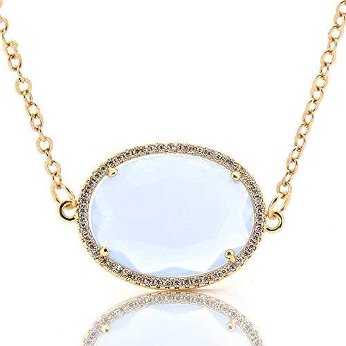 NC188 Collares Pendientes de Piedra para Mujer con Diamantes de imitación envueltos en Cuarzo Natural Ovalado cabujón Azul pálido Collar Colgante con Cadena Dorada Mujeres