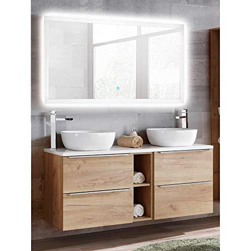 Lomadox Badmöbel Waschplatz Set in Wotaneiche, Doppel-Waschtisch mit 2 Keramik-Waschbecken, LED-Spiegel mit Touch-Funktion