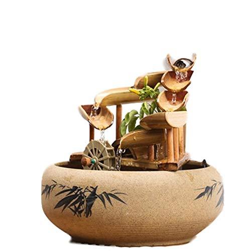 Bambus Akzente Wasserfontäne für Patio, Brunnen Kleine Ornamente, für Innen, Außen, Aquarium, Haus, Büro, Fügen Sie kleine Steine oder Muscheln hinzu, um Ihre ideale Umgebung weiter zu schaffen.