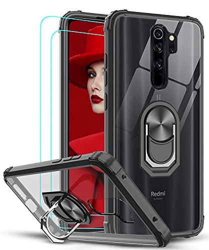 LeYi für Xiaomi Redmi Note 8 Pro Hülle mit Panzerglas Schutzfolie(2 Stück),Ringhalter Schutzhülle Crystal Clear Acryl Air Cushion Cover Hülle Handy Hüllen für Xiaomi Redmi Note 8 Pro Handyhülle Schwarz
